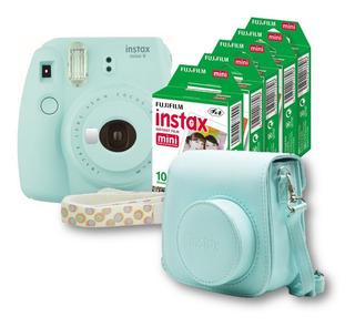 Paquete Instax Mini 9 Hielo+ Funda + Correa + 50 Fotos