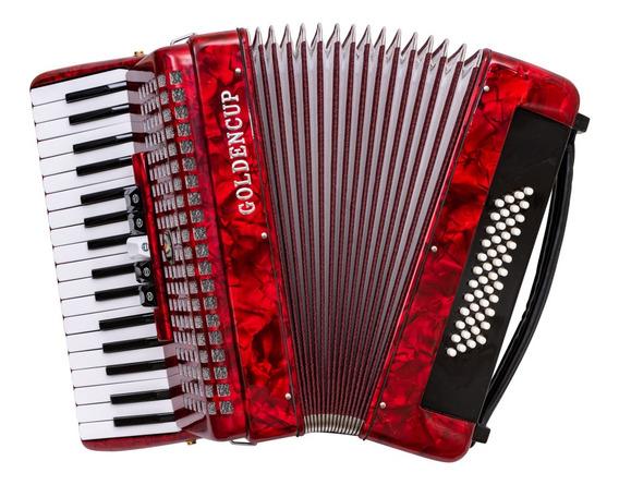 Acordeon A Piano Goldencup Rojo 48 Bajos 5 Registros Cuota