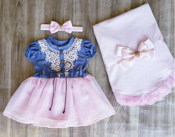 Saída De Maternidade Menina Vestido Rosa Jeans