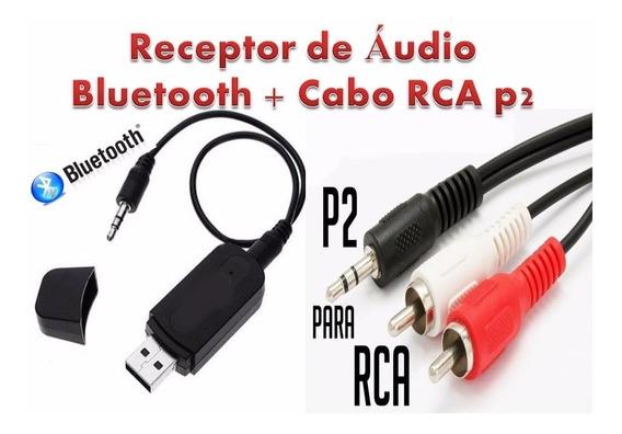 Receptor Áudio Bluetooth P2 Usb Som Carro Casa E Cabo Rcap2