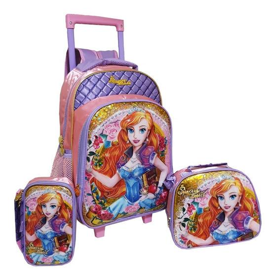 Kit Mochila Escolar Infantil Feminina Princesas 3d Rodinhas