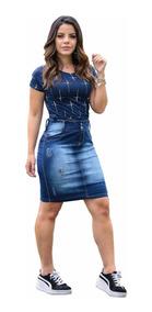 Conjunto Saia Jeans E Tshirt Azul | Juliana- Moda Evangélica