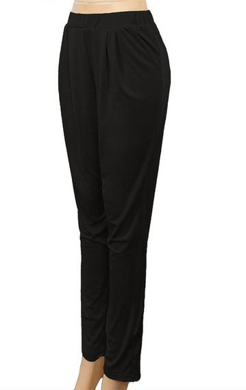 Suave Y Cómodo Pantalón Con Bolsillos Laterales, Color Negro