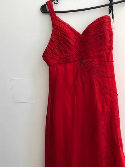 Vestido Largo Rojo Bordado Un Hombro
