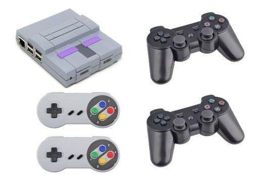 Vídeo Game Retro Super Nintendo Snes 10257 Jogos 4 Controles