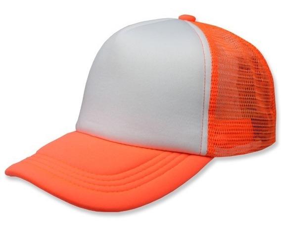 Paquete 24 Gorras Sc Trucker Naranja Neon Unitalla