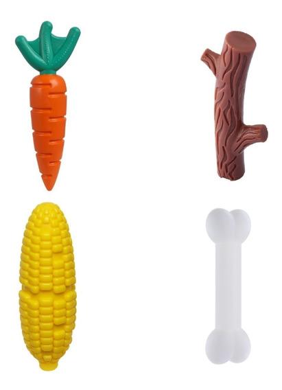4 Brinquedo Morder Cães Graveto + Milho + Cenoura + Osso