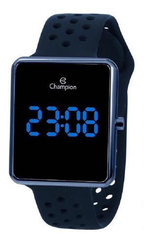 Relógio Champion Unissex Digital Led Ch40081a Azul Quadrado