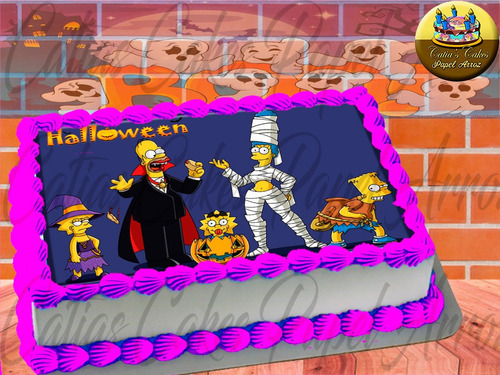 Papel De Arroz Comestível P/ Bolo Halloween The Simpsons