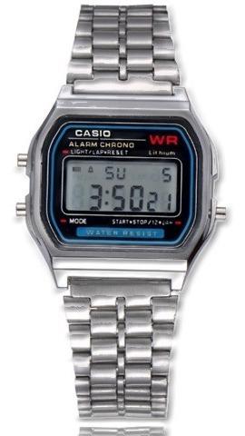 Relógio Cásio Prata Digital Unissex Resistência Chuva Alarme