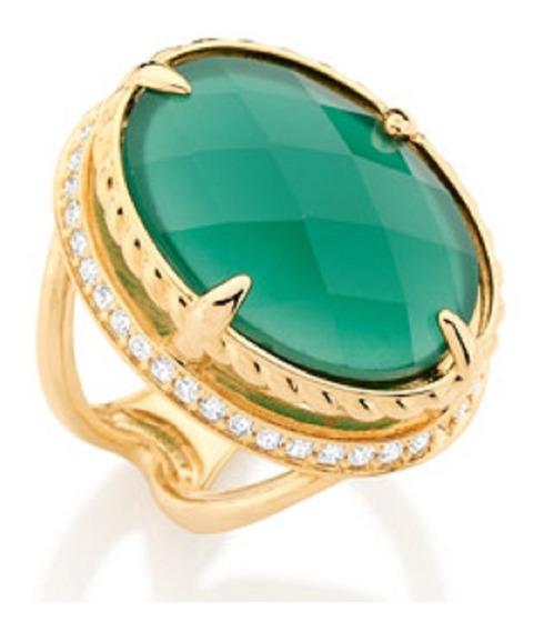 Anel Folheado A Ouro Rommanel Com Cristal Zircônios 511637