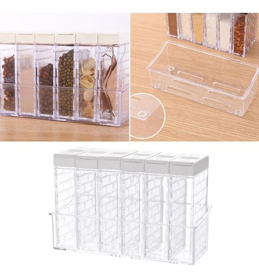 Set X6 Especieros Transparentes Cocina Caja Almacenamiento