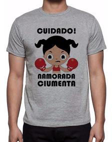 Camiseta Cinza Cuidado Namorada Ciumenta Sw-2138
