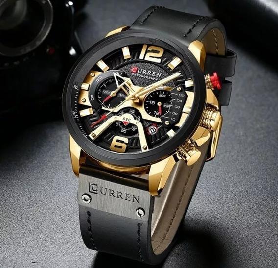 Relógio Masculino Curren 8329 Original, Funcional De Couro