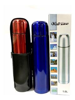 Termo Bala 1 L Acero Inoxidable Color Con Funda /azul - Rojo