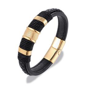 Pulseira Bracelete Masculino Liga De Zinco E Couro !