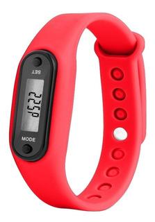 Reloj Podómetro Digital Cuenta Pasos, Calorias Rojo