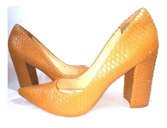 Marco Donatti Zapatos Tacones 100% Cuero Reptil Color Miel
