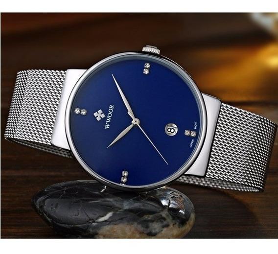 Relógio Masculino Azul Ultrafino Luxuoso Original C/ Caixa