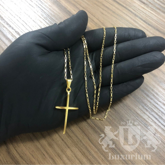 Cordão Veneziano 2mm Pingente Cruz Banhado A Ouro18k