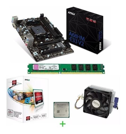 Kit Processador Amd A4 6300 3.7ghz 8gb Ddr3 A68hm-e33v2