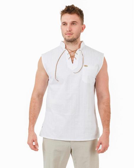 Camisa Sisada De Manta Con Cordón