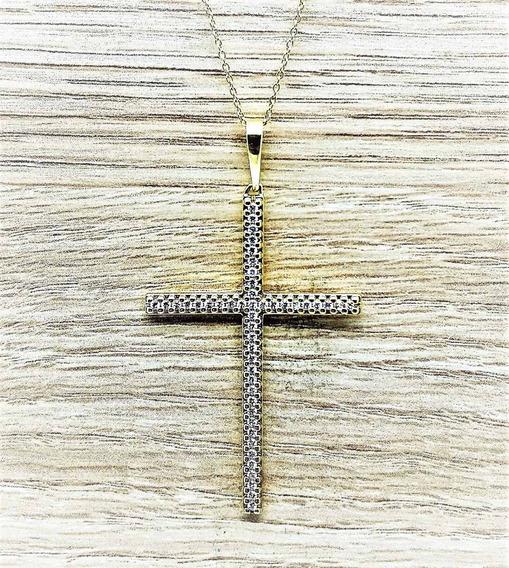 Cordão Com Pingente Cruz Prata Zirconias Banho Ouro 18k 1665