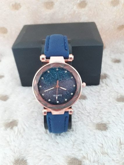 Relógio Feminino Rose Pulseira Azul