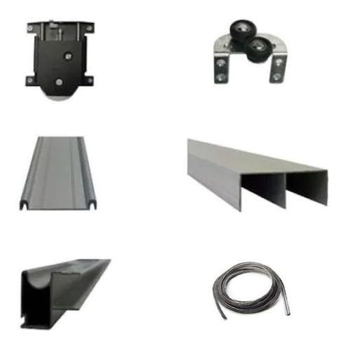 Kit Frente De Placard Aluminio Hafele 3mts 2p -- Mundo Cima