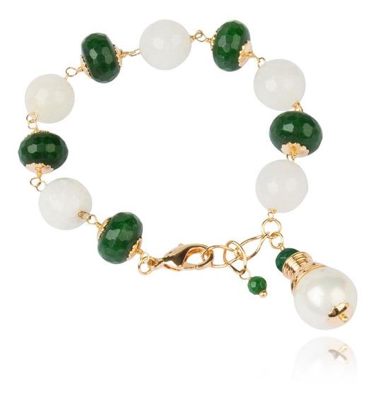 Pulseira Pedras Naturais Quartzo E Jade Semijoia Em Ouro 18k