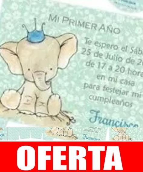 Kit Imprimible Elefante Varón Bautismo Cumpleaños Infantile1