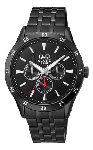 Reloj Q&q Ce02j412y Lujoso Para Caballero Negro Original