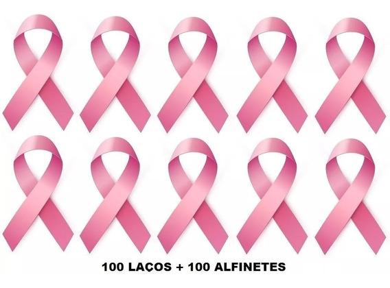 Laço Campanha Outubro Rosa - 100 Unidades C/ Alfinetes