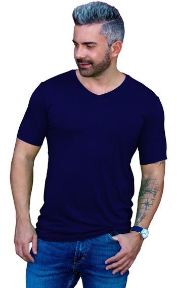Camisa Básica Gola V Rasa Masculina Viscolycra Manga Curta