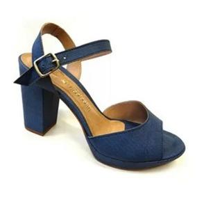 20cbdf601 Sandalias Salto Grosso Meia Pata Na Cor Azul - Sapatos com o ...