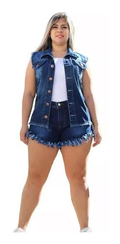 Imagem 1 de 3 de Short Feminino Jeans Curto Desfiado Com Lycra Plus Size