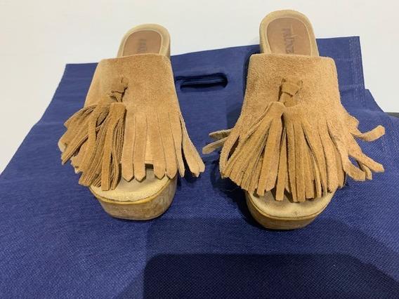 Zapatos Zuecos Gamuza Color Camel Prune Nro 35 Impecables!!!