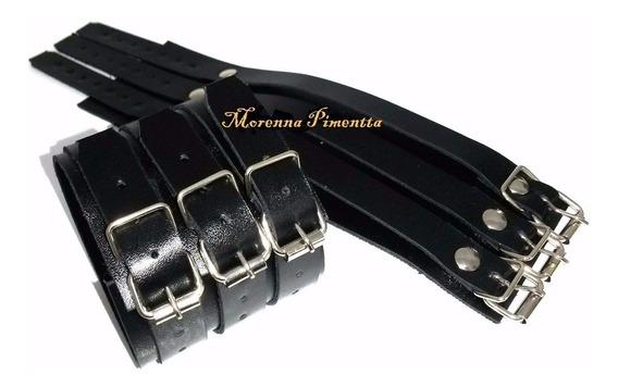 Bracelete Pulseira De Couro 3 Fivelas Masculina Ou Feminina