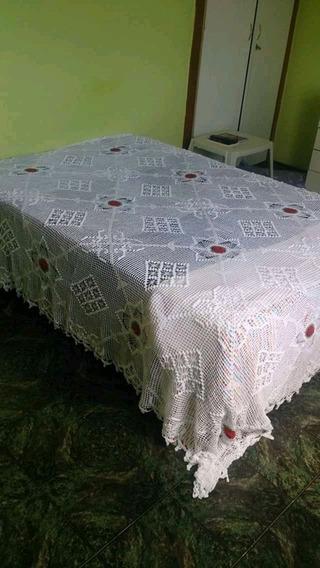 Colcha De Croche Casal Com Aplicacao.