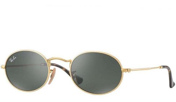 Ray-ban Oval Flat Rb3547n 001 51 - Dourado/verde Clássico G-