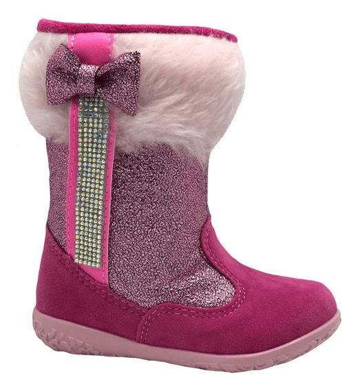 Bota Infantil Brink Pink Rosa Pelo 20 Ao 27 Bambole