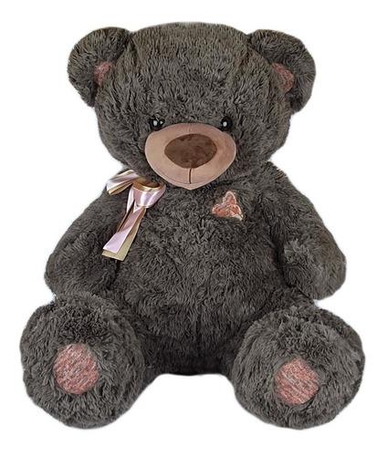 Imagem 1 de 3 de Urso De Pelúcia 90cm Marrom Acinzentado Coração Bordado Gg
