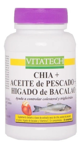 Imagen 1 de 2 de Aceite De Pescado + Chia + Hígado Bacalao 30 Comp Vita Tech