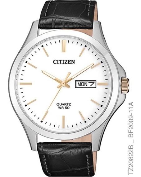 Relógio Citizen Masculino Tz20822b Aço Couro Preto