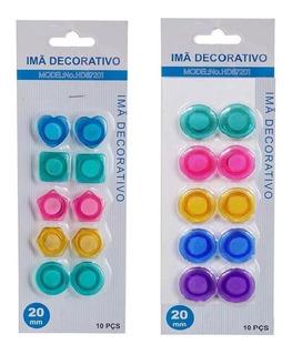 100 Imã Decorativo Coloridos Geladeira Fotos - 10 Cartelas