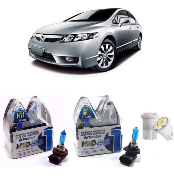 Kit Lâmpada Super Branca New Civic 2014 4h11+2hb3 8500k