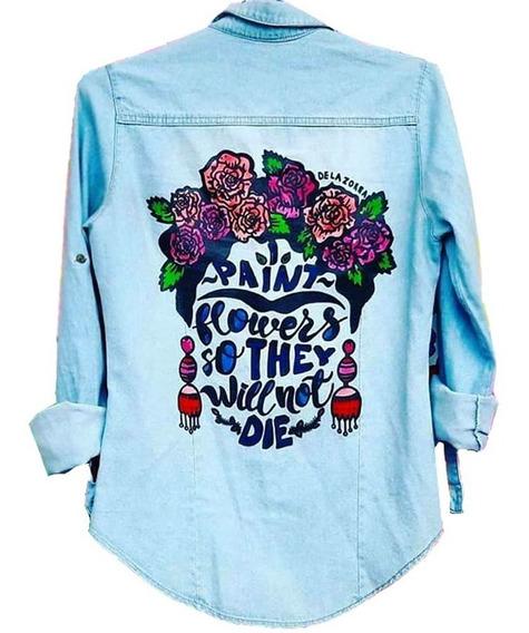 Camisa Jean Muje Estampada Frida Kahlo Pintada A Mano Flores