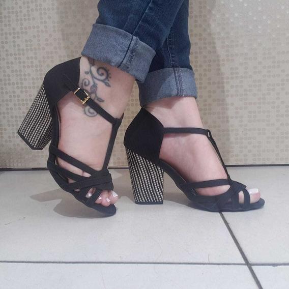 Sandalia Salto Alto Grosso Quadrado Confortavel Preta Barato