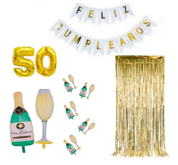 Globo Copa Y Botella 90cm Y 35cm+2num+guirnalda+cortina