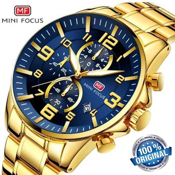 Relógio Mini Focus 0278 Dourado De Luxo Homens De Negócios